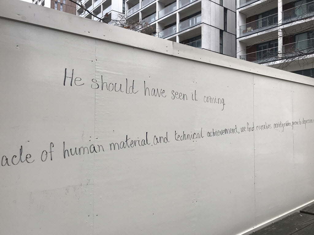 Hoarding with the first sentences (close up).